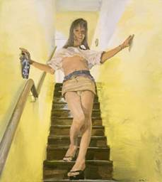 Liu Xiaodong. A Transsexual Getting Down the Stairs, 2001. Oil on canvas. Courtesy the artist